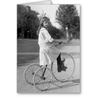 Antique Tricycle Girl, 1913 Card