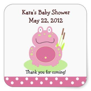 Fiona the Pink Pond Frog SQUARE Favor Sticker