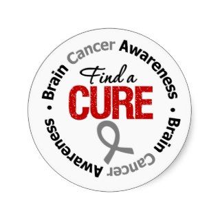 Brain Cancer Find A Cure Round Stickers