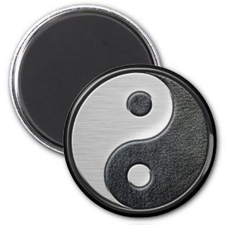 Leather and Steel Effect Yin Yang Graphic Fridge Magnet