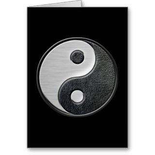 Leather and Steel Effect Yin Yang Graphic Greeting Cards