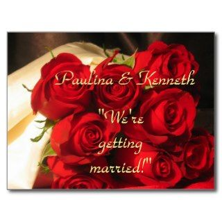 Were Getting Married!   Red Rose Bouquet Post Card