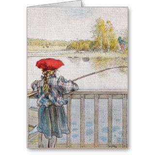 Lisbeth a Little Girl Fishing by Carl Larsson Greeting Card