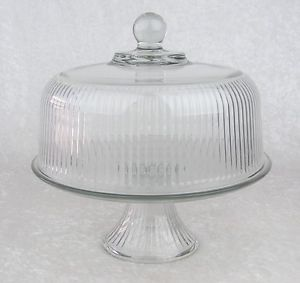 Anchor Hocking Clear Ribbed Glass Pedestal Cake Plate Stand Dome Lid Punch Bowl