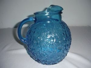 Vintage Depression Crinkle Blue Glass Ball Pitcher Anchor Hocking Glass Co