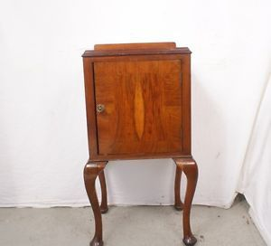 Antique British English Bedside Mahogany Queen Anne Cabinet Nightstand End Table