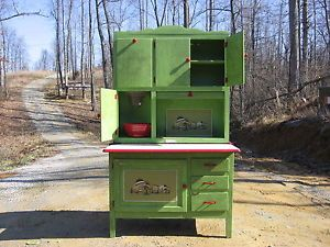 "Antique Hoosier Cabinet ""Green Apple Edition"" Bakers Station"