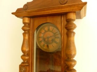 Antique Walnut Vienna Regulator Wall Clock Grid Iron Pendulum by Kienzle CA 1900