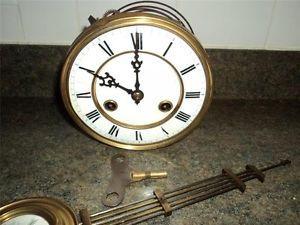 Antique Clock Parts Pendulum Key Face Hands Mechanism Old Clock Parts