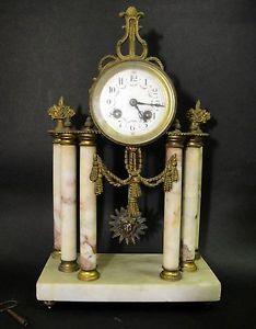 Antique French Mantel Marble Gilt Bronze Clock with Sun Pendulum 19th Century