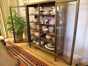 Antique Golden Oak China Cabinet Lots of Glass