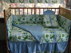 John Deere Kids Blue Madras Plaid Baby Bedding Set Crib with Bonus Extra Sheet
