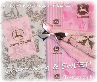 John Deere Dainty Pink Chenille Baby Girl Quilt Bedding