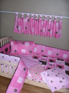Baby Pink Brown John Deere Fabric Crib Bedding Set Rag Quilt