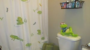 Pottery barn kids shower curtain with frog bath accessories