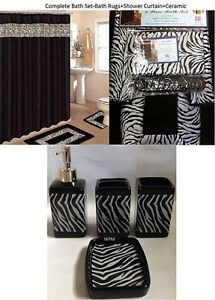 19 Pcs Bath Accessory Set Black Zebra Animal Print Bath Rug Set Shower Curtain