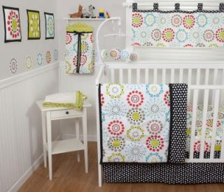 Sumersault Colorburst 10pc Baby Boy Girl Crib Bedding Set Red Lime Grey New