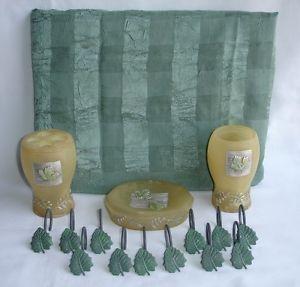 16 Lot Tan Green Ivy Leaves Fabric Shower Curtain Hooks Bathroom Accessory Set