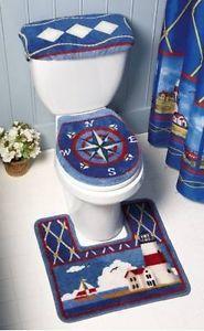 3 PC Nautical Lighthouse Beach Decor Toilet Seat Cover Bath Mat Rug Commode Set