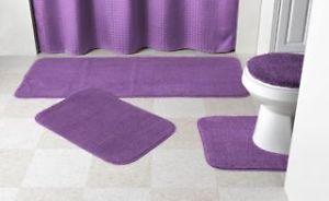"""New Madison 4 Piece Purple Bath Rug Bath Mat Toilet Lid Cover Set 24""""X60"""""""