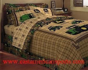 John Deere Twin Comforter Sheet Set Skirt Bedding Bed Sleep Room Plaid Kids