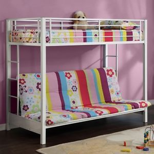 New Girls Bed Home Decor Furniture Bedroom White Twin Futon Bunk Beds Frame