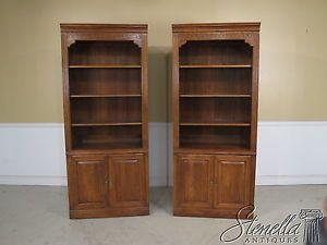 22273 Pair Ethan Allen Oak Open Bookcases w 2 Door Cabinet Bases