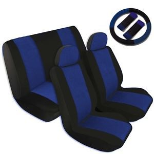 Two Tone Car Seat Covers Comfort Cloth Black Blue Front Rear Full Set CS5