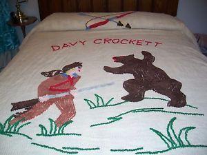 Vintage Davy Crockett Chenille Bedspread Cowboy Style