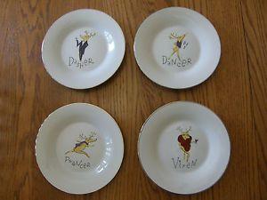 Pottery Barn Christmas Holiday Reindeer Dessert Lunch Plate Dinnerware DDPV New