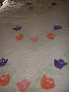 Beautiful Vintage White Pink Purple Peach Green Chenille Bedspread Super Plush