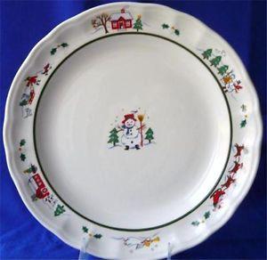 2 Pfaltzgraff Snow Village Christmas Dinner Plates