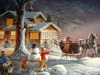 Terry Redlin Annual Christmas Winter Wonderland Masters Ed LG Plate Orig BX COA