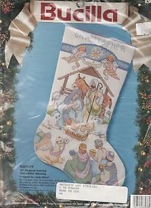 Bucilla Nativity Manger Scene Counted Cross Stitch Christmas Stocking Kit