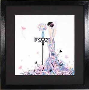 Butterfly Girl Lanarte Cross Stitch Kit w 18 Ct White Aida New