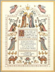 """Dimensions """"Blessed Nativity Sampler"""" Christmas Counted Cross Stitch Kit"""