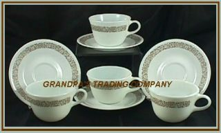 4 Corelle Pyrex Woodland Brown Cups Saucers Retired