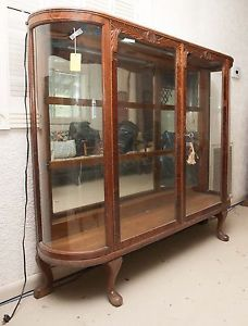 Curved Glass Antique Oak Curio China Cabinet REDUCED Price