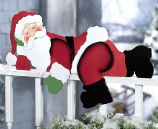 Funny Sleeping Santa Christmas Yard Decoration Fence Railing Porch Roof Decor