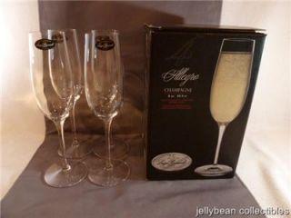 4 New in Box Luigi Bormioli Allegro Crystal Champagne Flutes Stemware