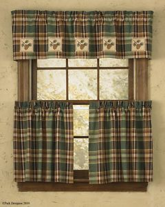 """Park Designs """"Wood River"""" Country Lodge Curtains Pinecone Patch Valance"""