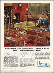 1965 Drexel Furniture Ad American Revue Cherry Dining Room Colonial Advertising