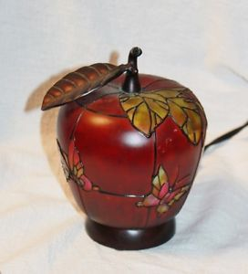 Stained Glass Apple Night Light Table Desk Lamp