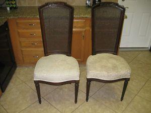 2 Henredon Fine Furniture Cane Back Dining Room Chairs Mahogany