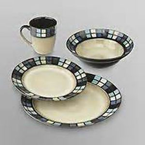 Jaclyn Smith 16 PC Set Granville Design Stoneware Dinnerware Set