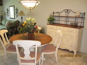 WOW Ethan Allen Dining Room Set Table Chairs Buffet Bakers Rack