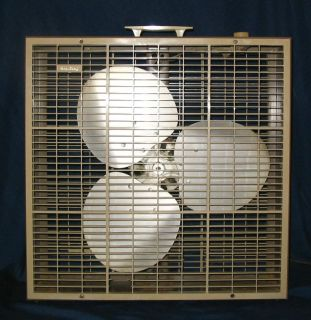 Vintage Brown Berns Air King PL20P Box Fan with 3 Blade