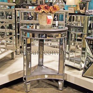 Sophia Round Mirrored End Table Accent Glam Nightstand
