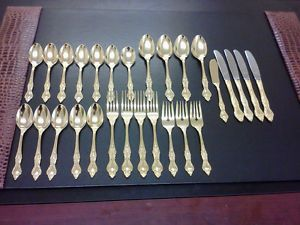Royal Sealy Flatware Silverware 28 Piece Set 24K Gold Plated Japan