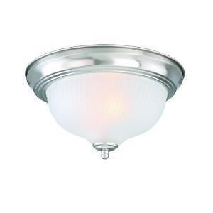 Hampton Bay 370830 Brushed Nickel 2 Light Flush Mount Ceiling Fixture